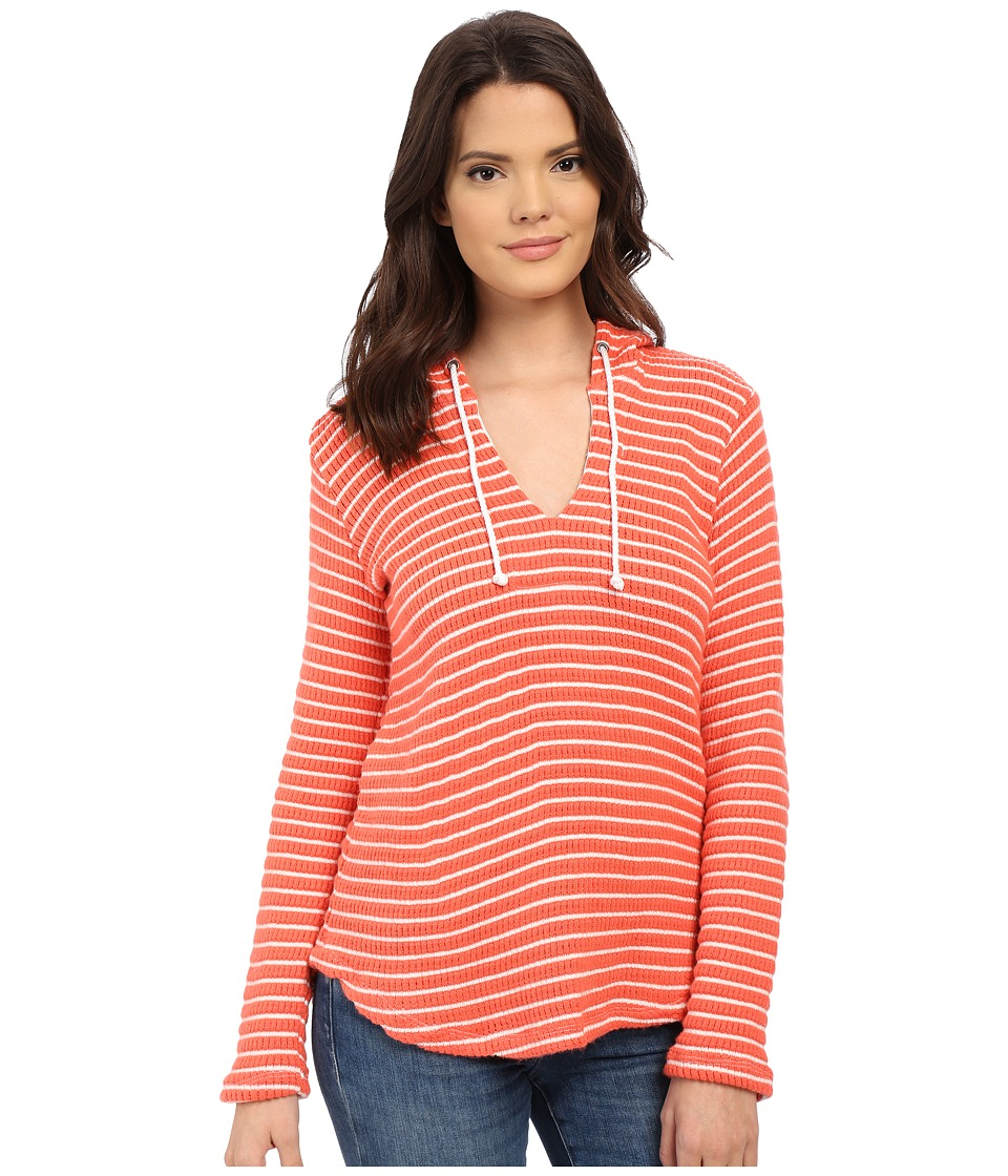 Splendid - Meridien Stripe Loose Knit Hoodie (Poppy/White) Women's Sweatshirt