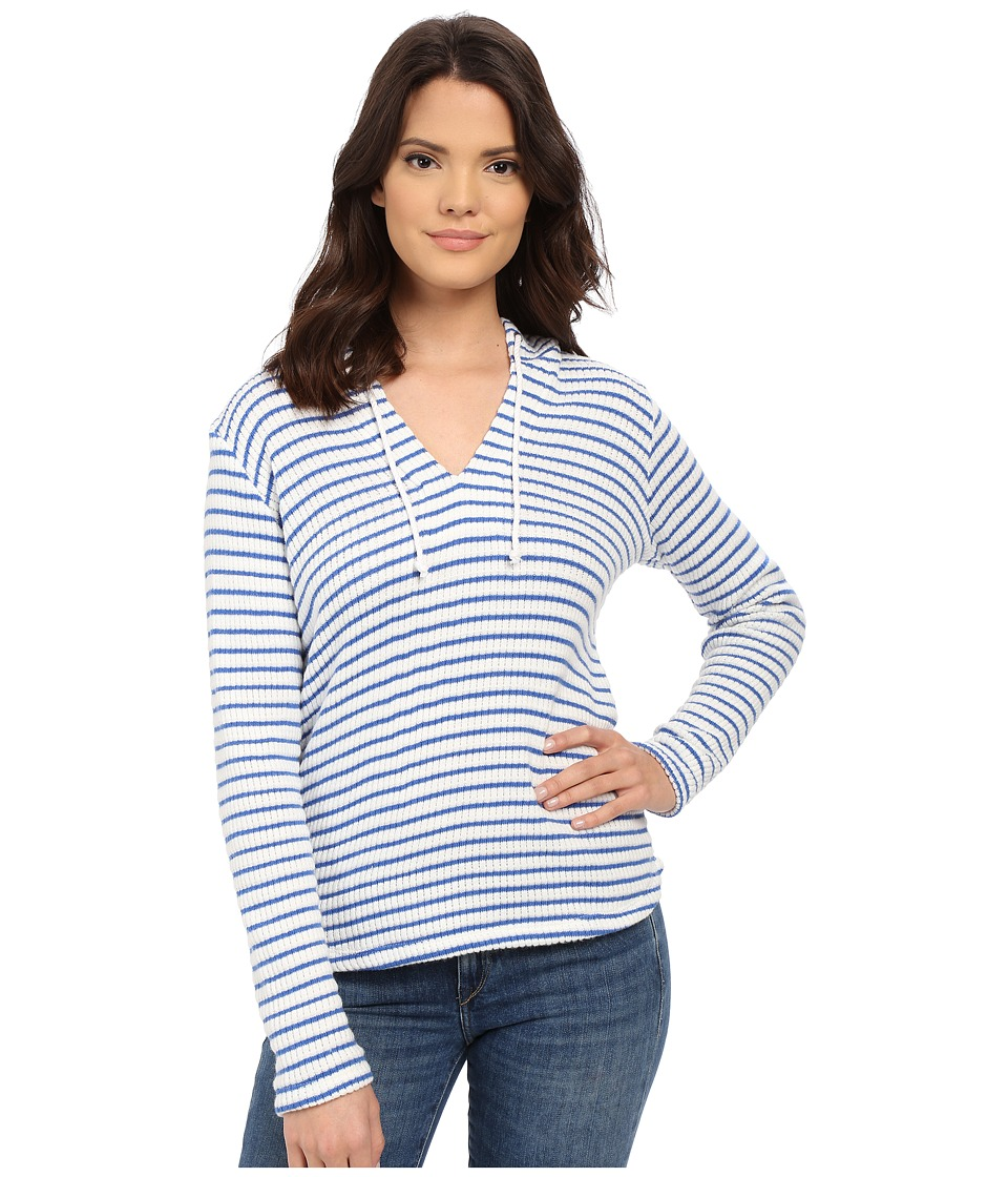 Splendid - Meridien Stripe Loose Knit Hoodie (White/Cerulean) Women's Sweatshirt