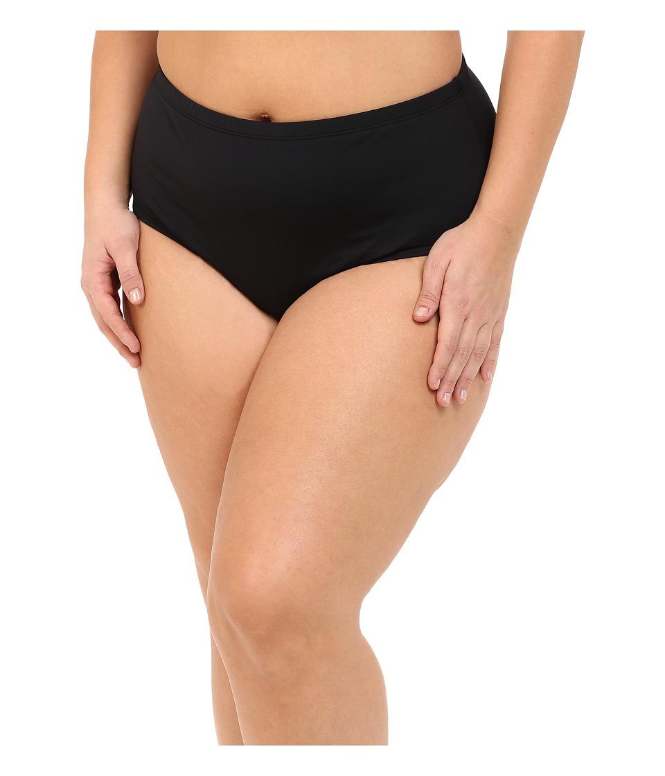 LAUREN Ralph Lauren - Plus Size Beach Club Solids Solid High Waist Hipster Bottoms (Black) Women's Swimwear