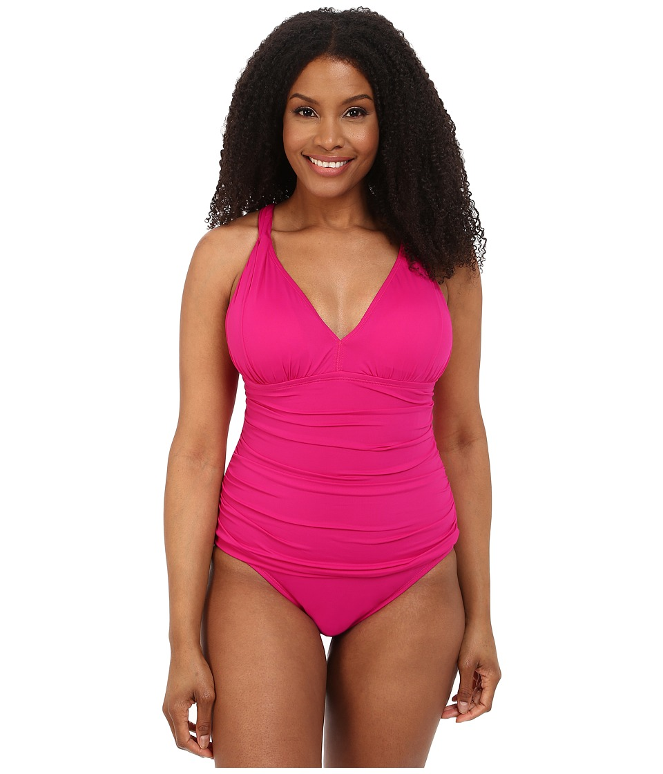 LAUREN Ralph Lauren - Plus Size Beach Club Solids Solid Over the Shoulder Loop Mio One-Piece (Hothouse Pink) Women's Swimsuits One Piece