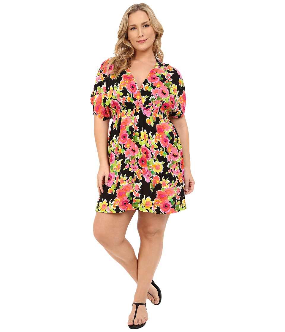 LAUREN Ralph Lauren - Plus Size Brilliant Floral Farrah Dress Cover-Up (Black) Women's Swimwear
