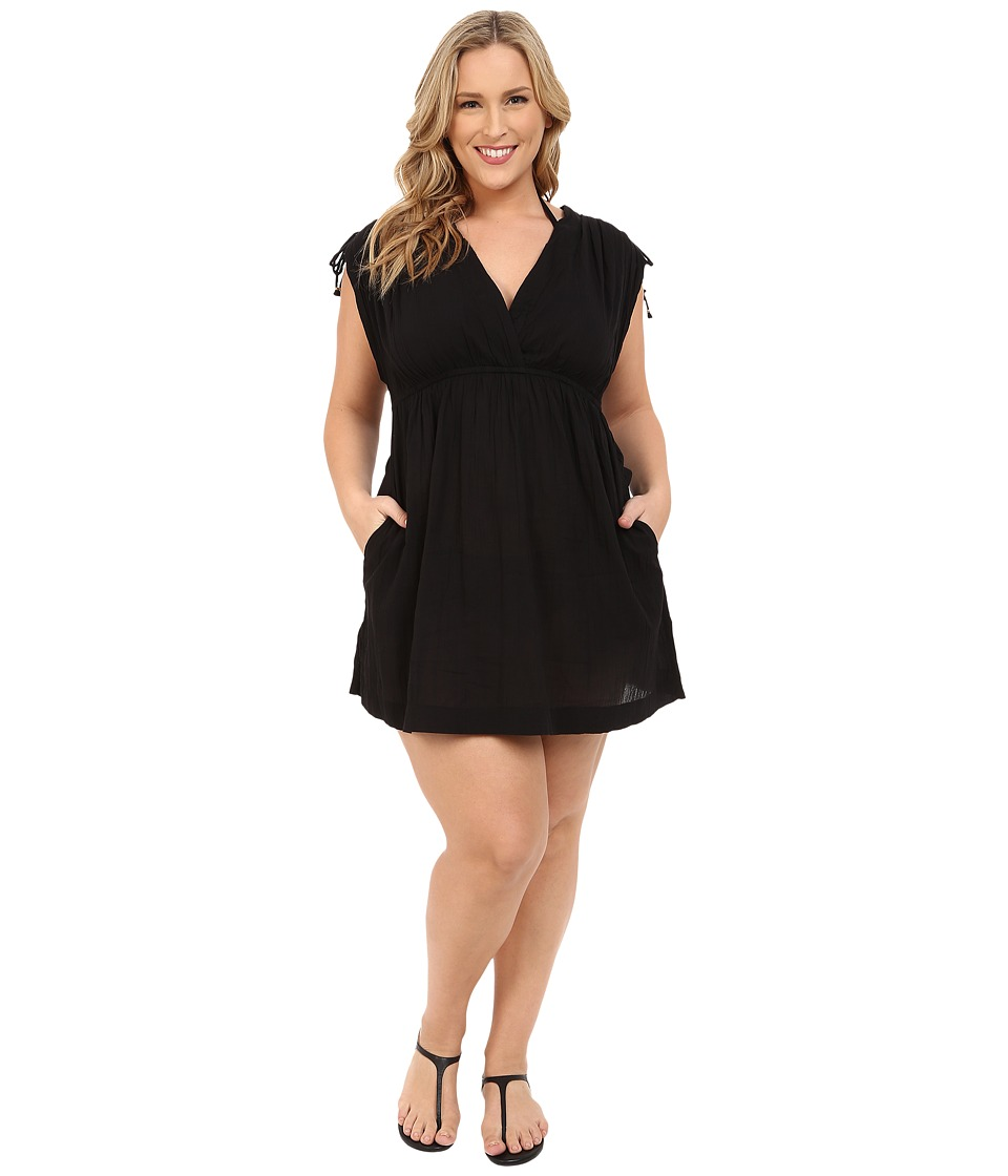 LAUREN Ralph Lauren - Plus Size Crushed Cotton Farrah Dress Cover-Up (Black) Women's Swimwear plus size,  plus size fashion plus size appare
