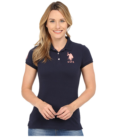 U.S. POLO ASSN. - Neon Logos Short Sleeve Polo Shirt (Navy Blazer) Women's Short Sleeve Knit