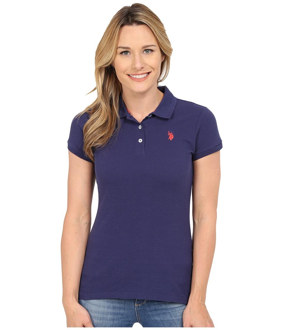 U.S. POLO ASSN. Solid Pique Polo (Navy/Red) Women