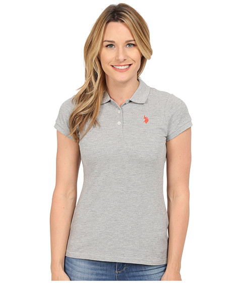 U.S. POLO ASSN. - Solid Pique Polo (Heather Grey/Red) Women's Short Sleeve Knit