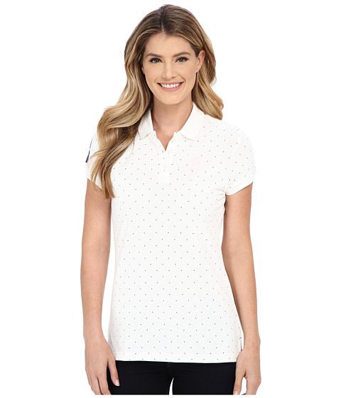 U.S. POLO ASSN. - Stretch Pique Dot Print Polo Shirt (Snow White) Women's Short Sleeve Knit