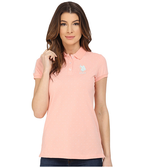 U.S. POLO ASSN. - Stretch Pique Dot Print Polo Shirt (Peach Pearl) Women's Short Sleeve Knit