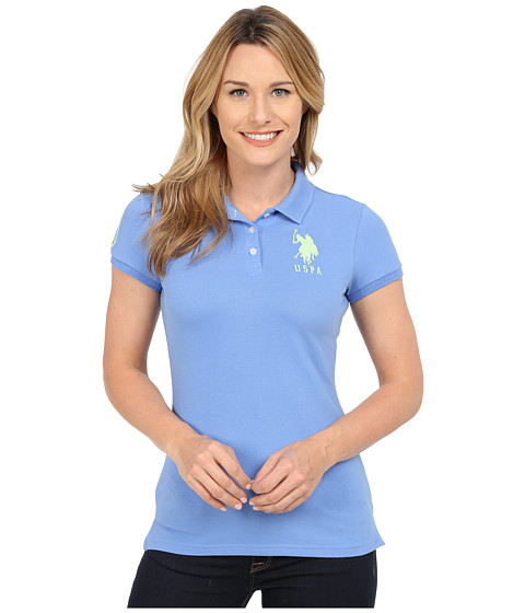 U.S. POLO ASSN. - Neon Logos Short Sleeve Polo Shirt (Ultramarine Blue) Women's Short Sleeve Knit