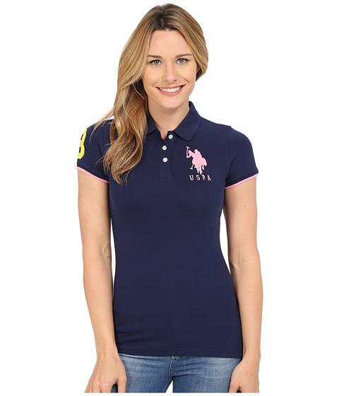 U.S. POLO ASSN. - Contrast Patch Big Pony Polo Shirt (Navy/Berry Bug) Women