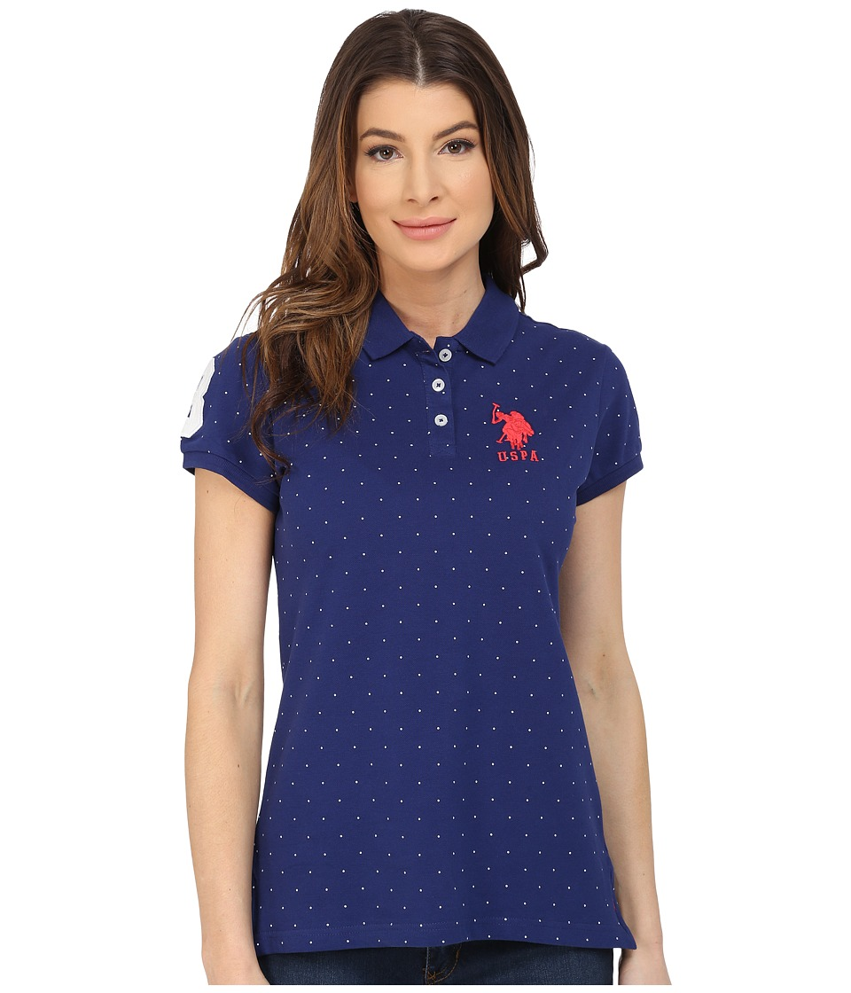 U.S. POLO ASSN. - Stretch Pique Dot Print Polo Shirt (Blue Depths) Women