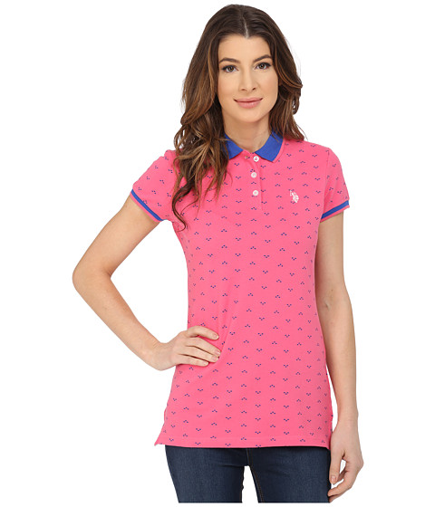 U.S. POLO ASSN. - 3 Diamond Dot Print Stretch Pique Polo Shirt (Hot Pink) Women's Short Sleeve Knit