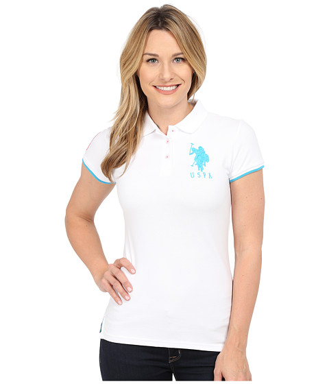 U.S. POLO ASSN. - Contrast Patch Big Pony Polo Shirt (White/Teal) Women