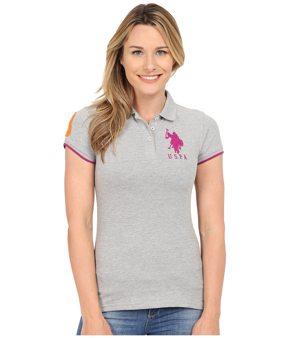U.S. POLO ASSN. - Contrast Patch Big Pony Polo Shirt (Heather Grey/Plum Sauce) Women