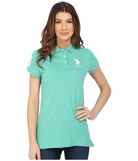 U.S. POLO ASSN. - Stretch Pique Dot Print Polo Shirt (Marine Green) Women's Short Sleeve Knit