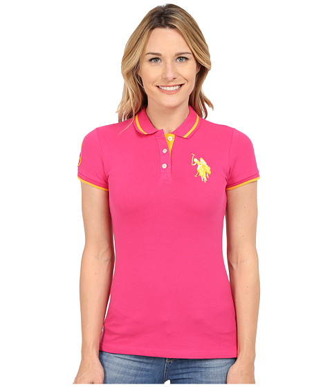 U.S. POLO ASSN. - Solid Pique Polo Shirt (Pink Paradise) Women