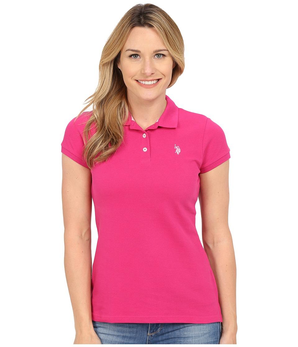 U.S. POLO ASSN. - Solid Pique Polo (Fuchsia/Pink) Women's Short Sleeve Knit