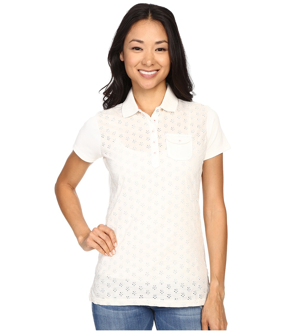 U.S. POLO ASSN. - Pique Woven Eyelet Pocket Polo Shirt (Snow White) Women's Short Sleeve Pullover