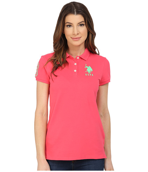 U.S. POLO ASSN. - Neon Logos Short Sleeve Polo Shirt (Rouge Red) Women