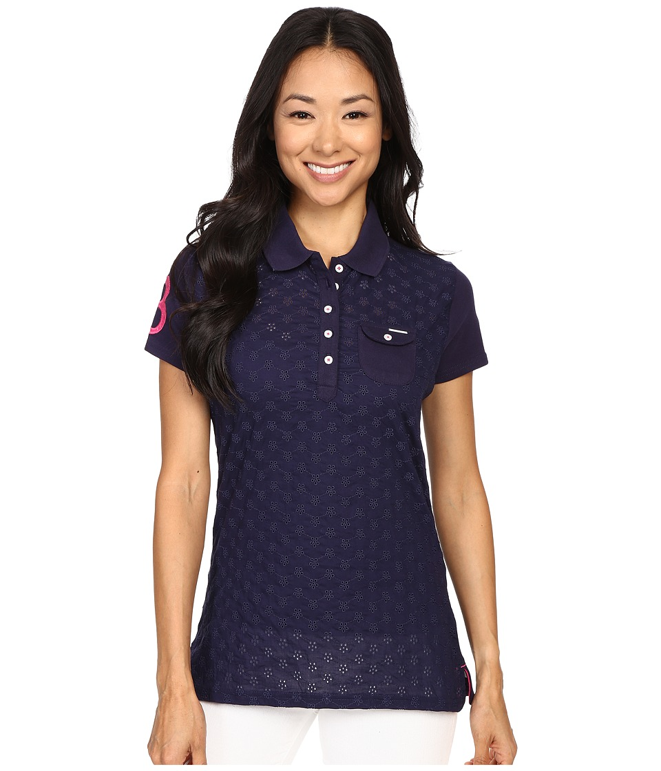 U.S. POLO ASSN. - Pique Woven Eyelet Pocket Polo Shirt (Peacoat Blue) Women's Short Sleeve Pullover