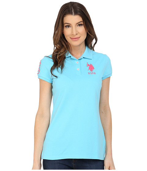 U.S. POLO ASSN. - Neon Logos Short Sleeve Polo Shirt (Bachelor Button) Women