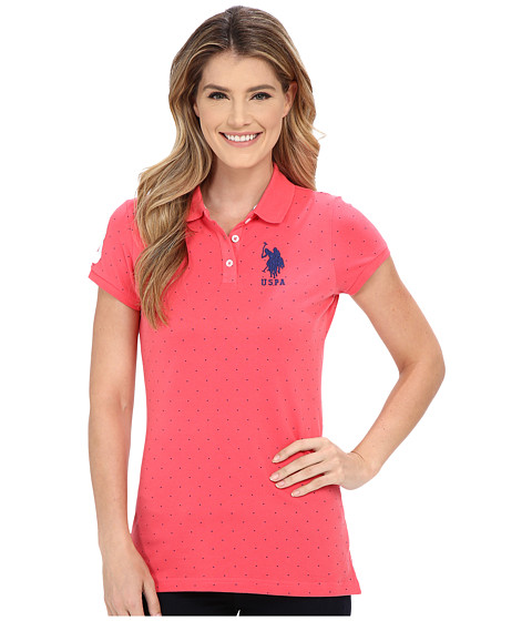 U.S. POLO ASSN. - Stretch Pique Dot Print Polo Shirt (Rouge Red) Women