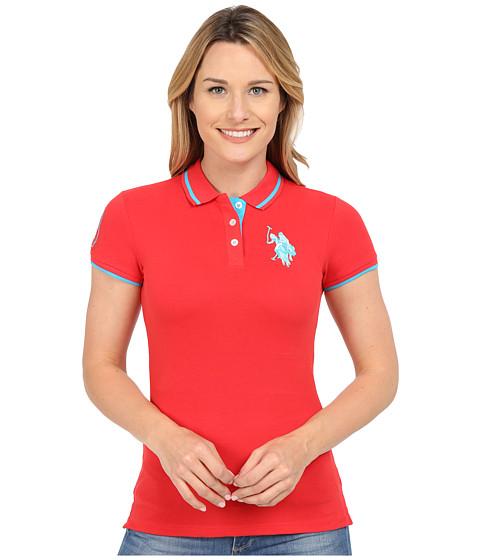 U.S. POLO ASSN. - Solid Pique Polo Shirt (Lollipop) Women