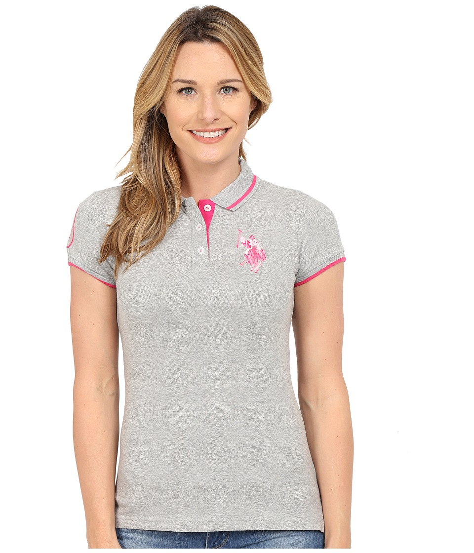U.S. POLO ASSN. - Solid Pique Polo Shirt (Heather Grey) Women's Short Sleeve Knit