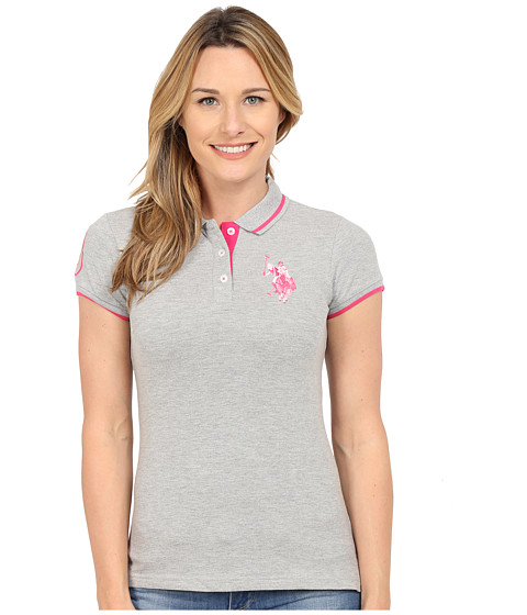 U.S. POLO ASSN. - Solid Pique Polo Shirt (Heather Grey) Women