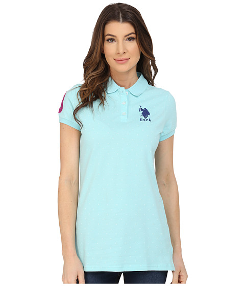 U.S. POLO ASSN. - Stretch Pique Dot Print Polo Shirt (Aqua Splash) Women