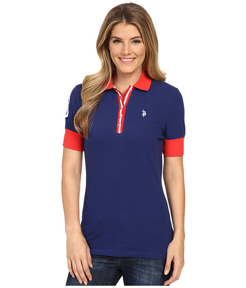 U.S. POLO ASSN. - Striped Placket Stretch Pique Polo Shirt (Blue Depths) Women's Short Sleeve Knit