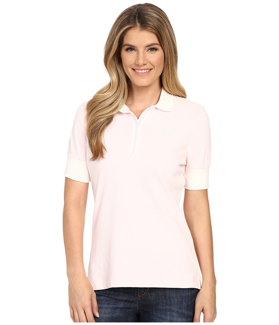 U.S. POLO ASSN. - Striped Placket Stretch Pique Polo Shirt (Classic Pink) Women's Short Sleeve Knit