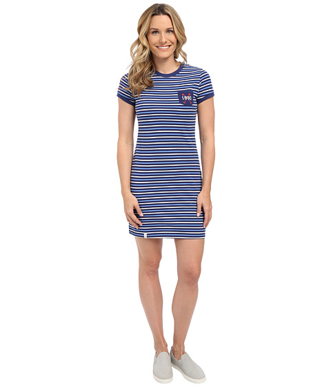 U.S. POLO ASSN. - Striped Pocket T-Shirt Dress (Blue Print) Women