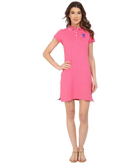 U.S. POLO ASSN. - All Over Polka Dot Pique Polo Dress (Hot Pink) Women