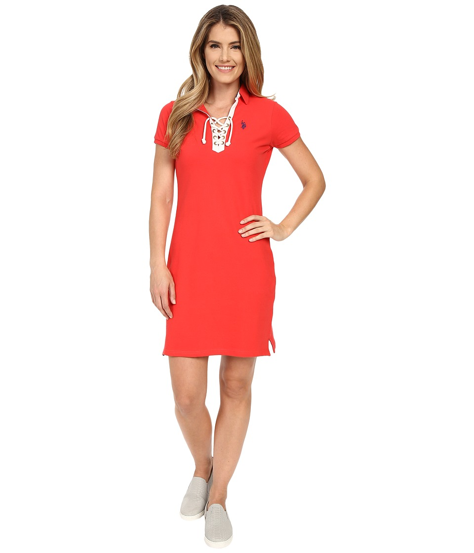 U.S. POLO ASSN. - Tie Front Pique Dress (Poinsettia) Women's Dress
