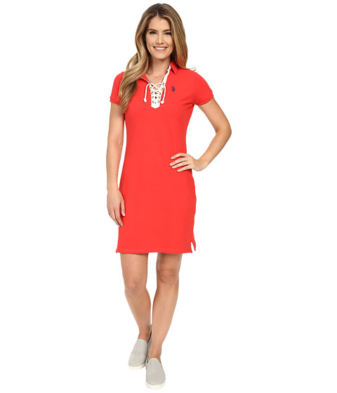 U.S. POLO ASSN. - Tie Front Pique Dress (Poinsettia) Women