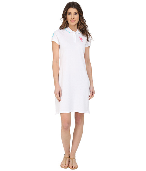 U.S. POLO ASSN. - All Over Polka Dot Pique Polo Dress (Optic White) Women's Dress