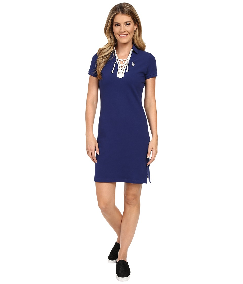 U.S. POLO ASSN. - Tie Front Pique Dress (Blue Depths) Women