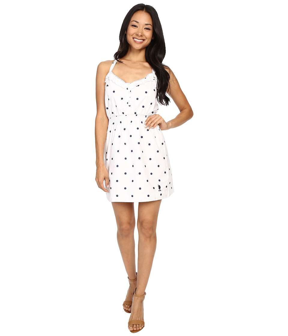 U.S. POLO ASSN. - Dot Print Tie Back Sun Dress (Tribal Navy) Women's Dress