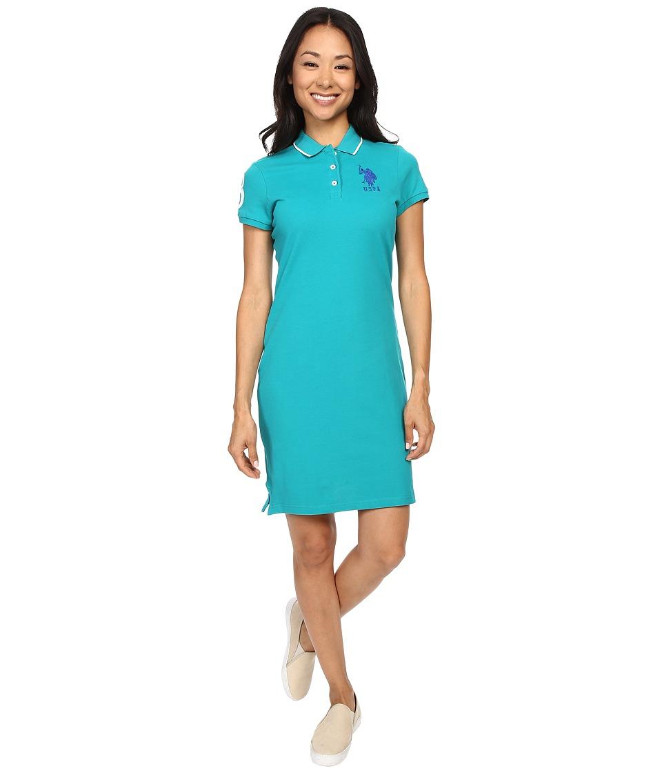 U.S. POLO ASSN. - Classic Pique Polo Dress (Blue Grass) Women's Dress