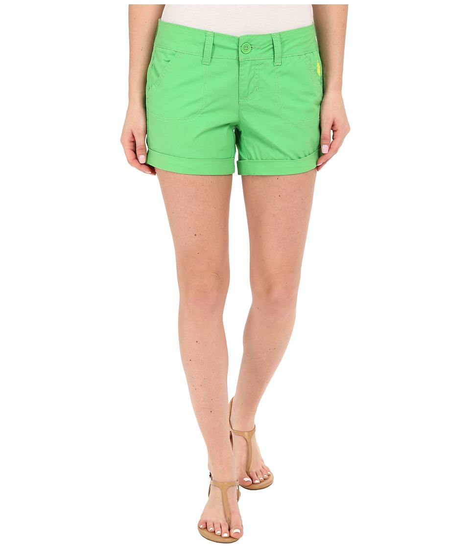 U.S. POLO ASSN. - Stretch Poplin Shorts (Lime Lory) Women's Shorts