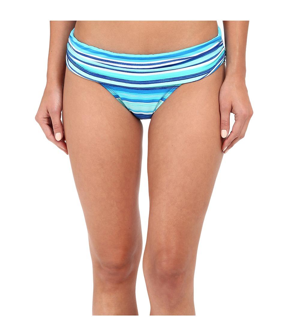 LAUREN Ralph Lauren Sunset Stripe Shirred Banded Hipster (Blue) Women