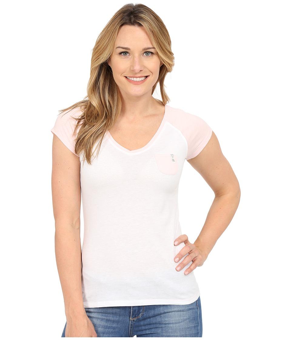 U.S. POLO ASSN. - V-Neck Pocket T-Shirt (White/Light Pink) Women's T Shirt