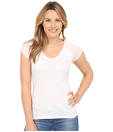 U.S. POLO ASSN. - V-Neck Pocket T-Shirt (White/Light Pink) Women