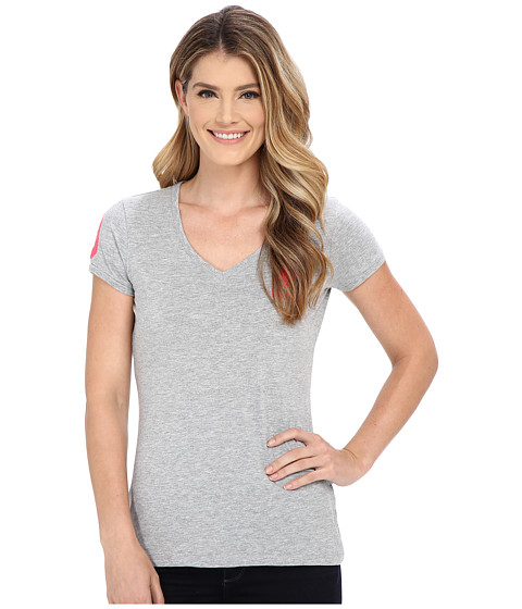 U.S. POLO ASSN. - Lace V-Neck T-Shirt (Grey Heather) Women's Short Sleeve Pullover