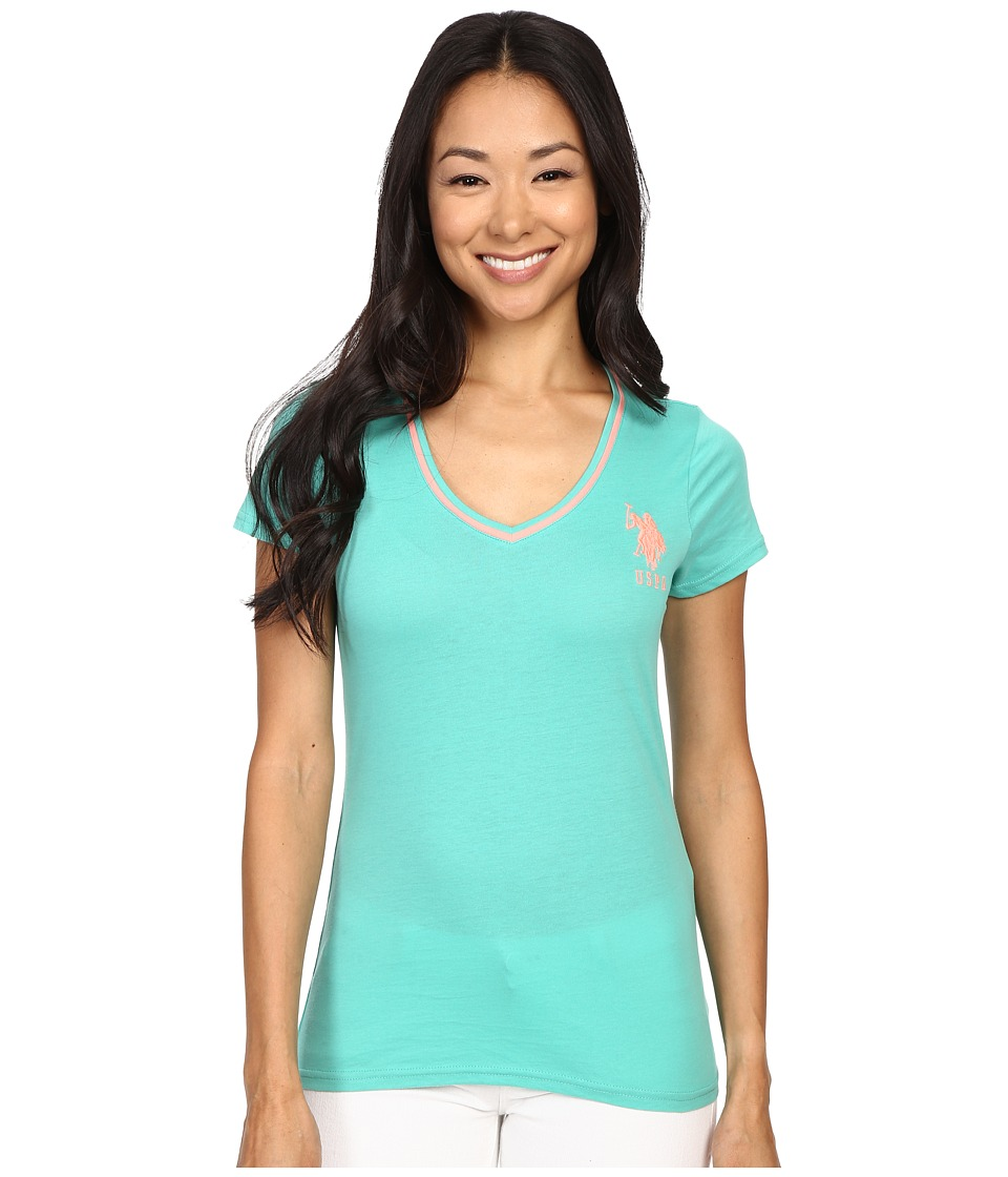U.S. POLO ASSN. - Cotton Jersey V-Neck Big Logo T-Shirt (Marine Green) Women's Short Sleeve Pullover