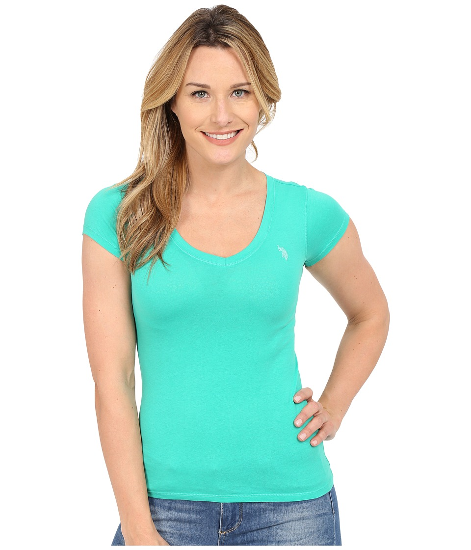 U.S. POLO ASSN. - Short Sleeve V-Neck T-Shirt (Peacock Green) Women's T Shirt