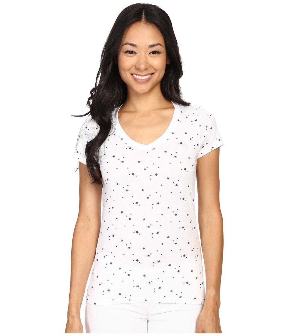 U.S. POLO ASSN. - Star Print Cotton Jersey V-Neck Small Logo T-Shirt (Optic White) Women