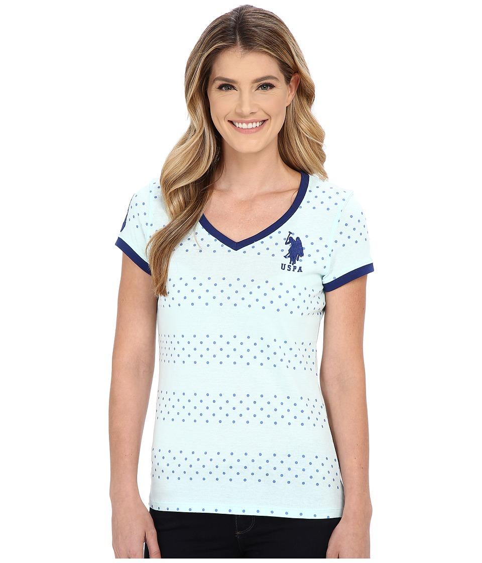 U.S. POLO ASSN. - Short Sleeve Dot Stripe V-Neck T-Shirt (Bleached Aqua) Women