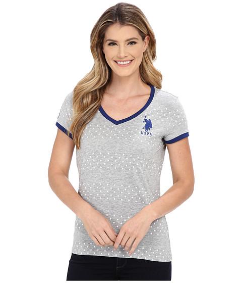 U.S. POLO ASSN. - Short Sleeve Dot Stripe V-Neck T-Shirt (Heather Grey) Women's Short Sleeve Pullover