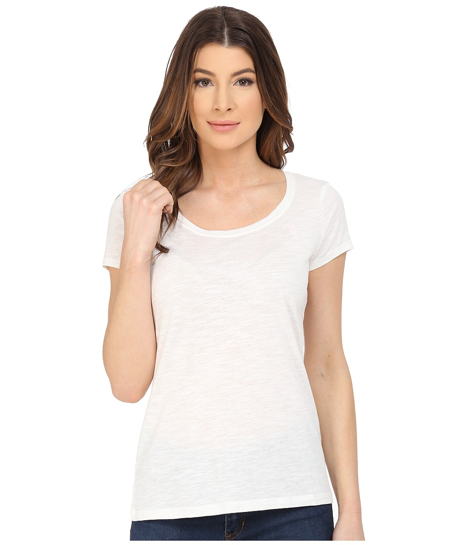 U.S. POLO ASSN. Scoop Neck Solid T-Shirt (Snow White) Women